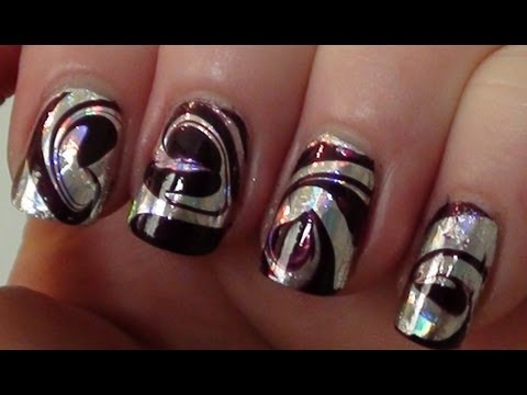 Foil Swirl Water Marble Party Nail Art Tutorial Youtube