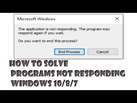 The Application Is Not Responding The Program May Respond Again Windows 10/8/7