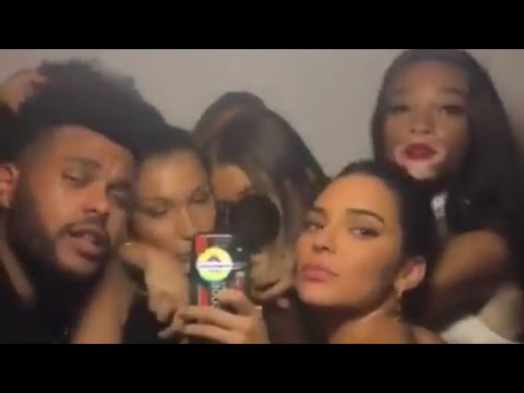 The Weeknd at Kylie Jenner Birthday Party