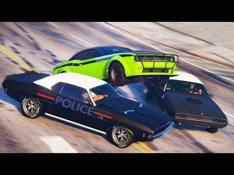 GTA 5 COPS & ROBBERS -  Погоня от копов на новом DODGE из ФОРСАЖ превратилась в троллинг копов!