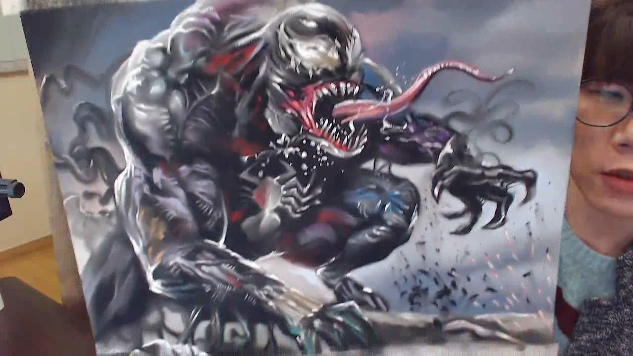 Venom Spiderman Drawing Pastel Speed Drawing -...