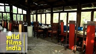 Rustic wooden dining hall at Ken River Lodge