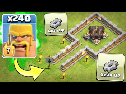 ALL BARBARIAN ARMY vs GEARED UP CANNON!! - Clash Of Clans