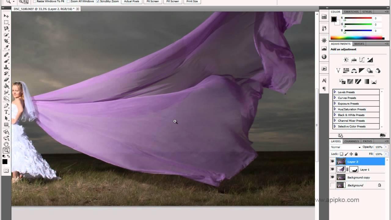 Как удлинить платье фотошопом