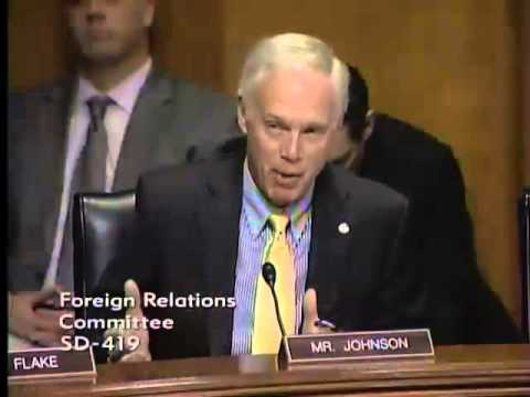 Sen. Johnson speaking at the Foreign Relations Committee Hearing.