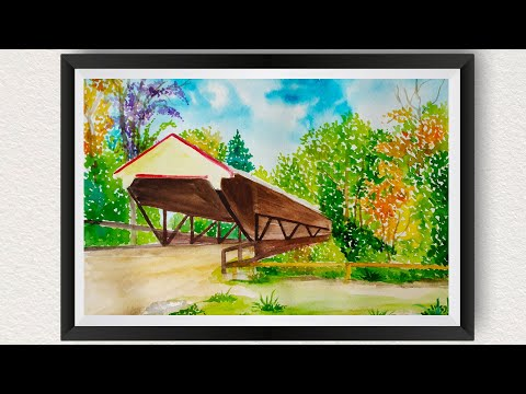 Watercolor Painting For Beginners Easy How To Paint River Bridge Landscape Scenery Autumn Fall Trees
