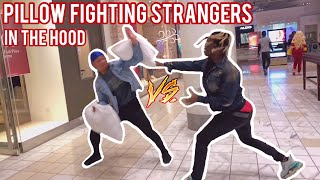 Pillow Fighting Strangers In Public 👊🏾🤕 Atlanta Hood Edition Pt. 4
