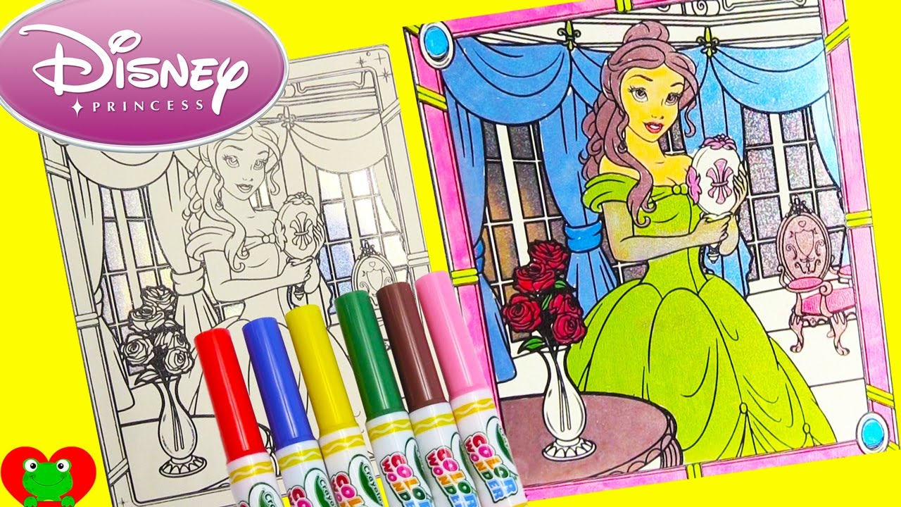 disney princess belle crayola color wonder glitter coloring page