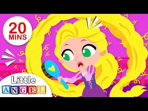 Princess Rapunzel Brushes Her Hair | Princess Kids Songs & Nursery Rhymes by Little Angel