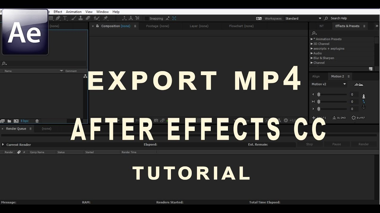 Export Mp4 for After Effects CC using Aftercodecs
