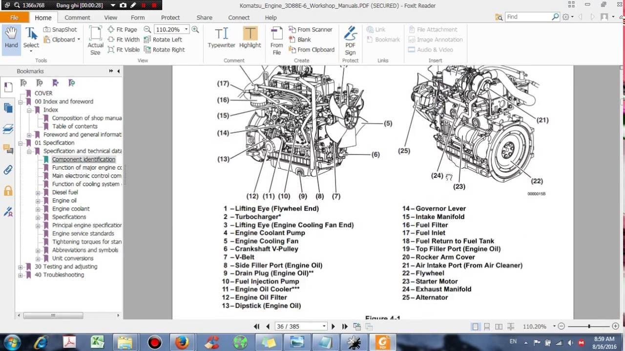 komatsu engine 3d88e 6 shop manual dhtauto com youtube rh youtube com Komatsu Shop Manuals Komatsu Forklift Service Manuals