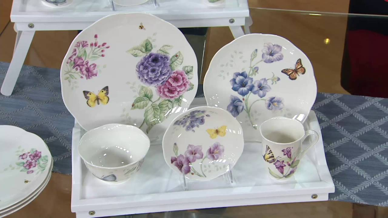 Porcelain Dinnerware Set on QVC & Lenox Butterfly Meadow 20-pc. Porcelain Dinnerware Set on QVC - YouTube