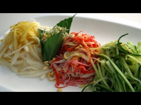 Cold salad with spicy mustard sauce (Gyeoja Naengchae) 겨자냉채