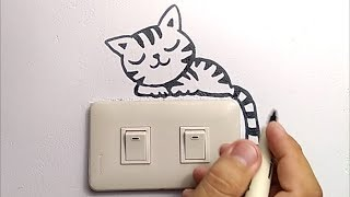 MUDAH, menggambar kucing IMUT di dinding saklar rumah. / how to draw cute kitty cat