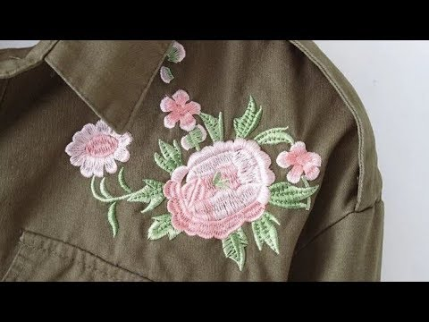 Распечатываем рубашку цвета Хаки с длинным  рукавом и вышивкой цветов.