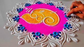 Easy Ganesh Rangoli With Flowers