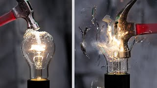 تحطيم مصباح كهربائى بالسلو موشن/ 8 تجارب علميه مجنونه