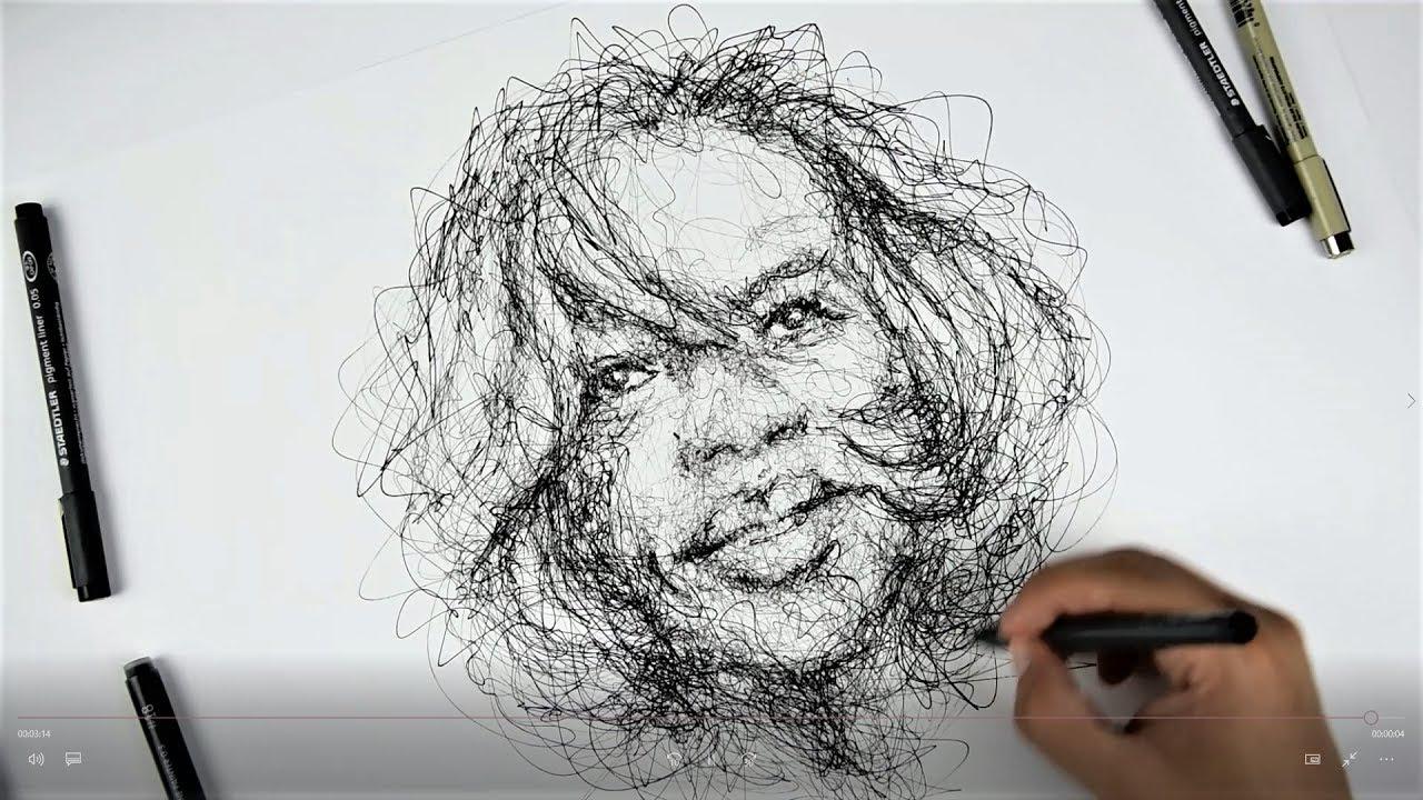 Scribble Sketch Drawing : Viola davis fast scribble sketch youtube