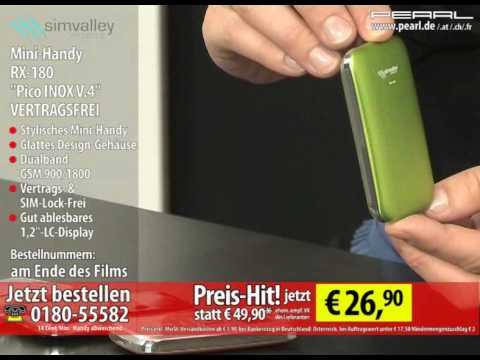 "simvalley MOBILE Mini-Handy RX-180 ""Pico INOX GREEN V.4"" VERTRAGSFREI"