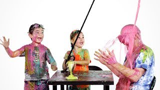 Twins Ethan, Helena, and Dad Get Slimed! | Partners in Slime | HiHo Kids