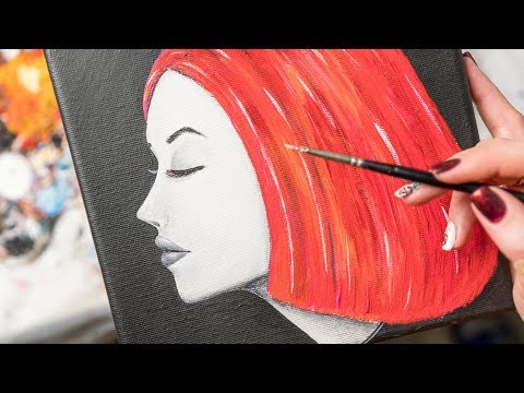 Profile of a Girl with Colorfull Hair – Acrylic painting / Homemade Illustration (4k)