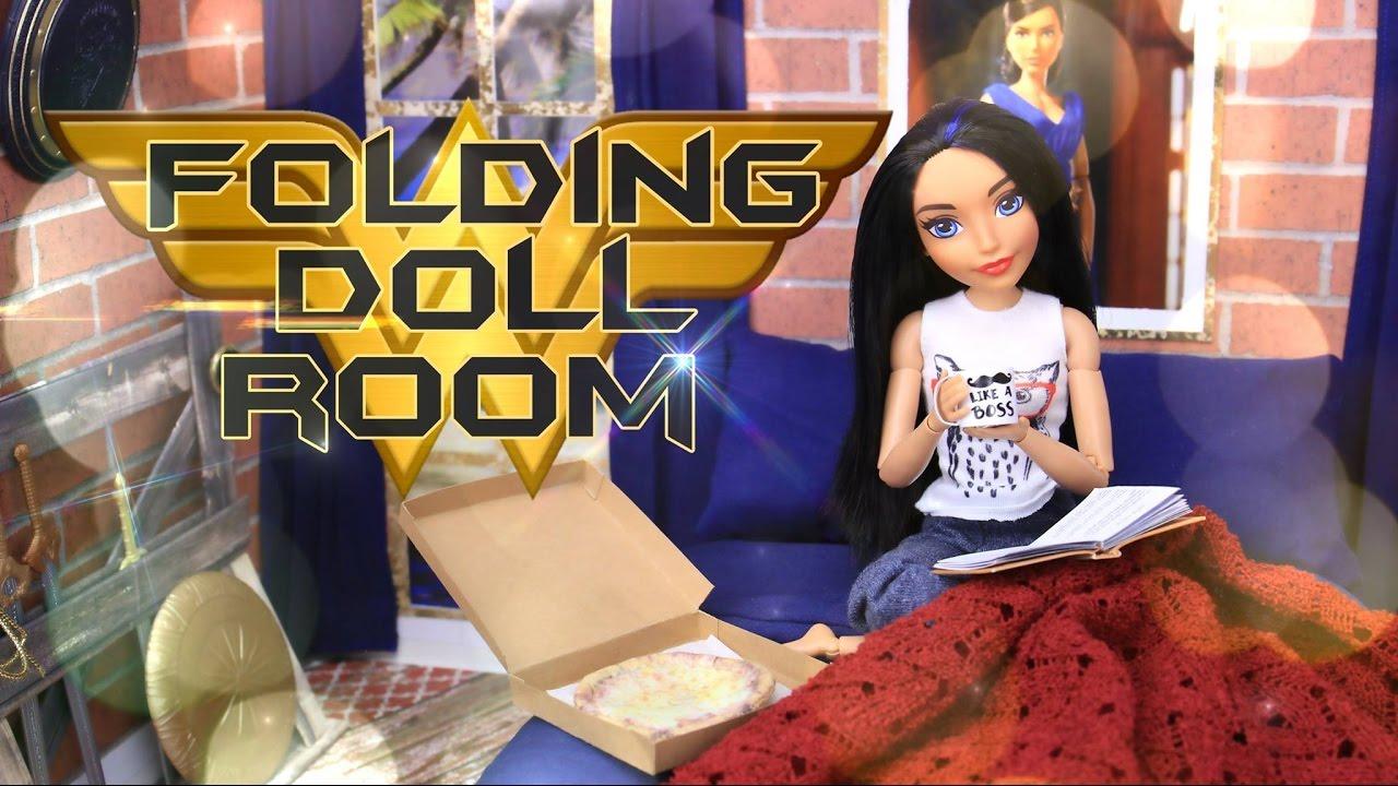 DIY   How To Make: Folding Doll Bedroom | Wonder Woman PLUS Weapons Rack  And Secret Office. MyFroggyStuff Part 97