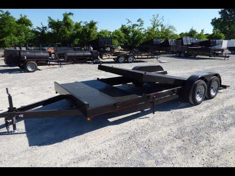 Flat Deck Trailer >> Utility Trailer 7'x16' Tilt Bed Steel Floor Car Hauler (Up) - YouTube