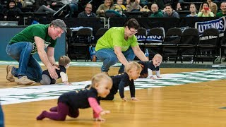 Adorable babies face off in Zalgirio Arena crawling race