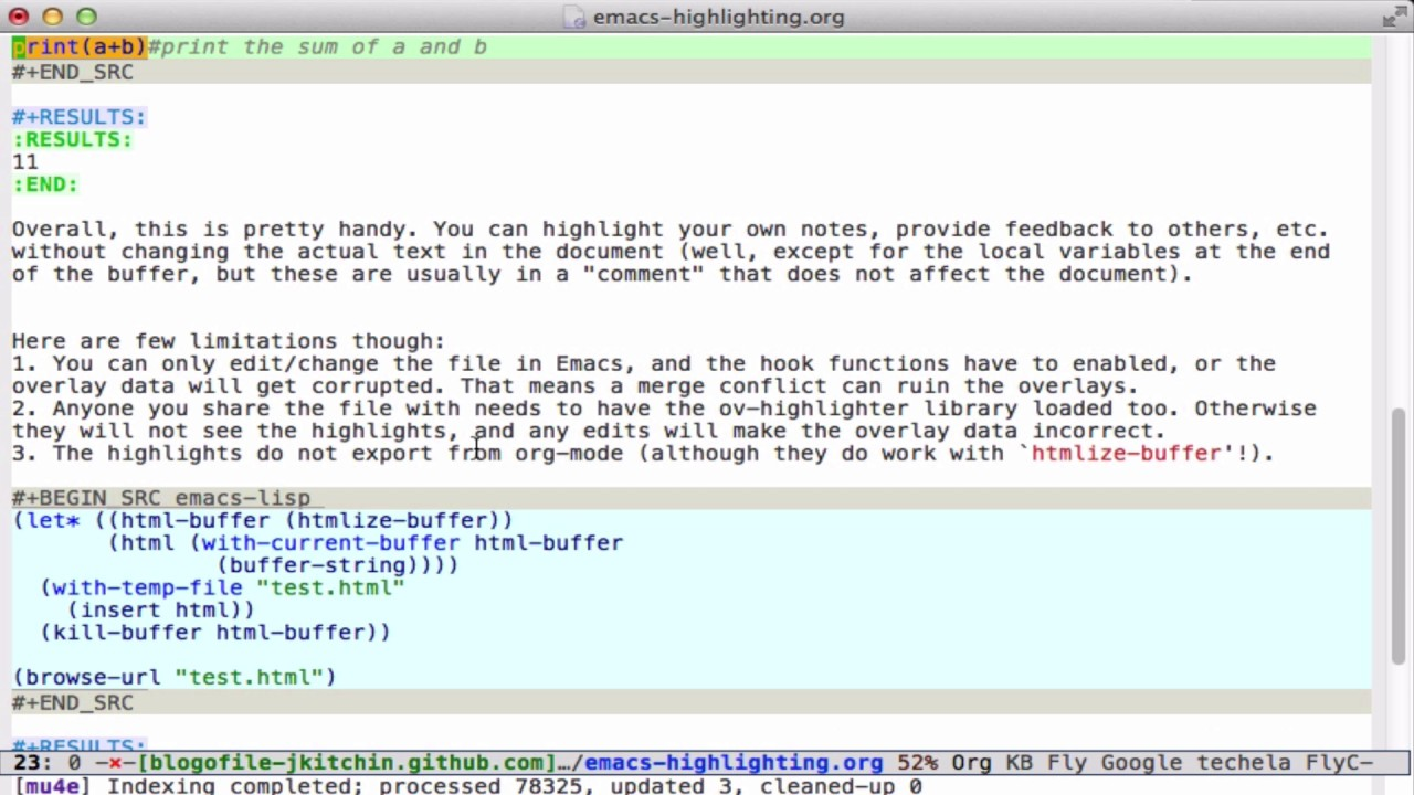 Persistent highlighting in Emacs