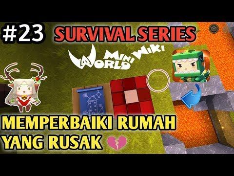 Memperbaiki Rumah dan Halaman Impianku Di Mini World Block Art Survival Indonesia Episode 23 - 동영상