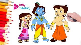Chhota Bheem Colouring page | colouring Chhota Bheem and Krishna cartoon, Colouring Book for Kids
