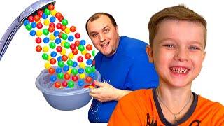 Дети и папа - веселые истории про вредные сладости