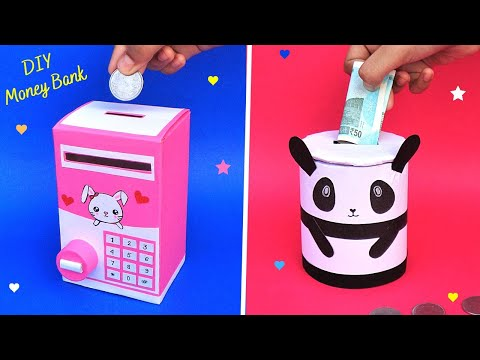 How to make Coin Bank with Cardboard Box & Roll/Best out of waste/DIY 2 Cute Money Storage Box
