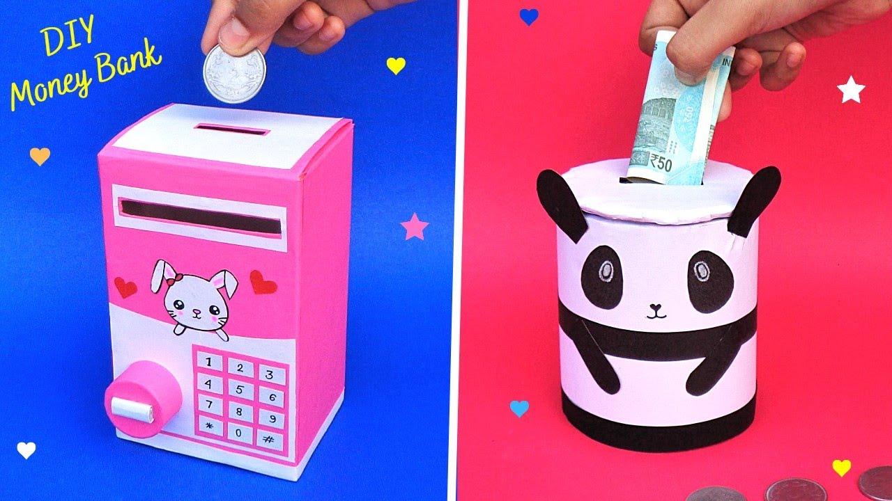 Как сделать банк для монет с картонной коробкой и рулоном / Лучшее из отходов / DIY 2 Симпатичный ящик для хранения денег