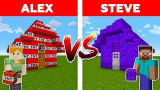 MINECRAFT - ALEX vs STEVE! NETHER PORTAL HOUSE vs TNT HOUSE / Minecraft Animation part 6