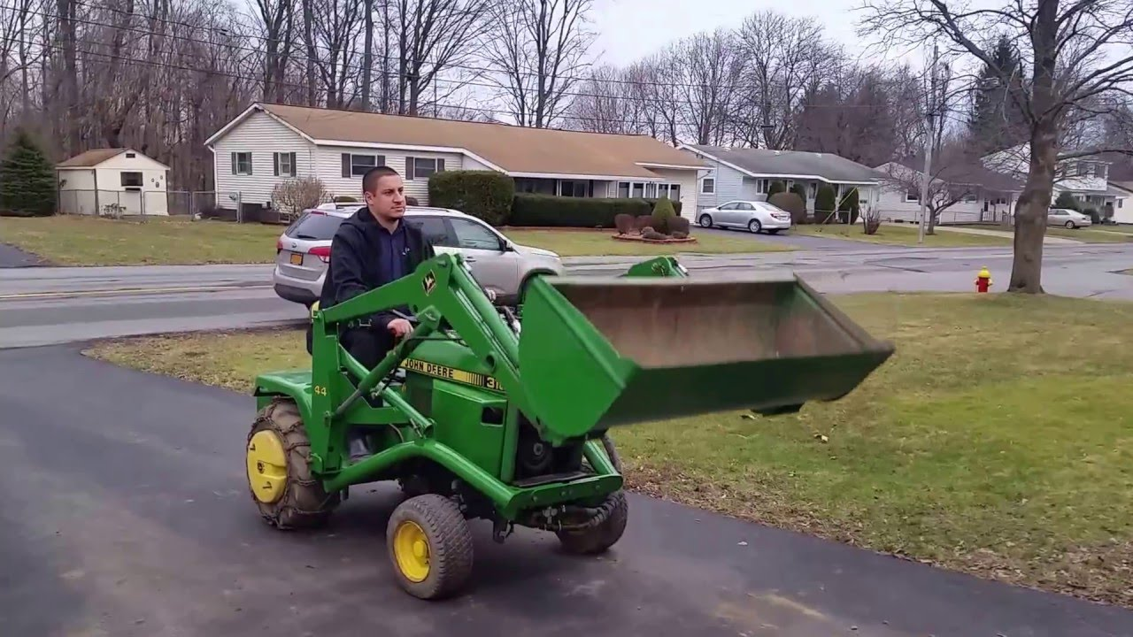 John Deere 318 tractor with 44 loader - YouTube