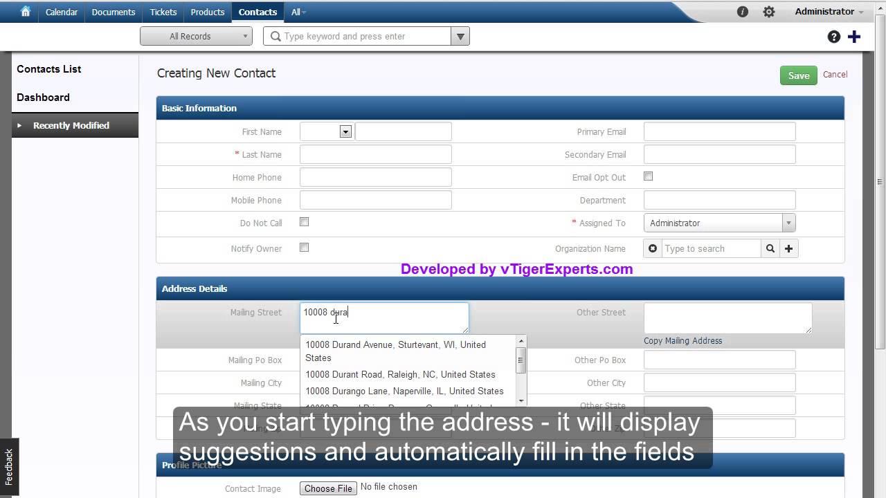 vTigerExperts.com - vTiger CRM - Address Lookup Integrated with Google on address locator map, address number map, ip address map, address list map, area code lookup map,