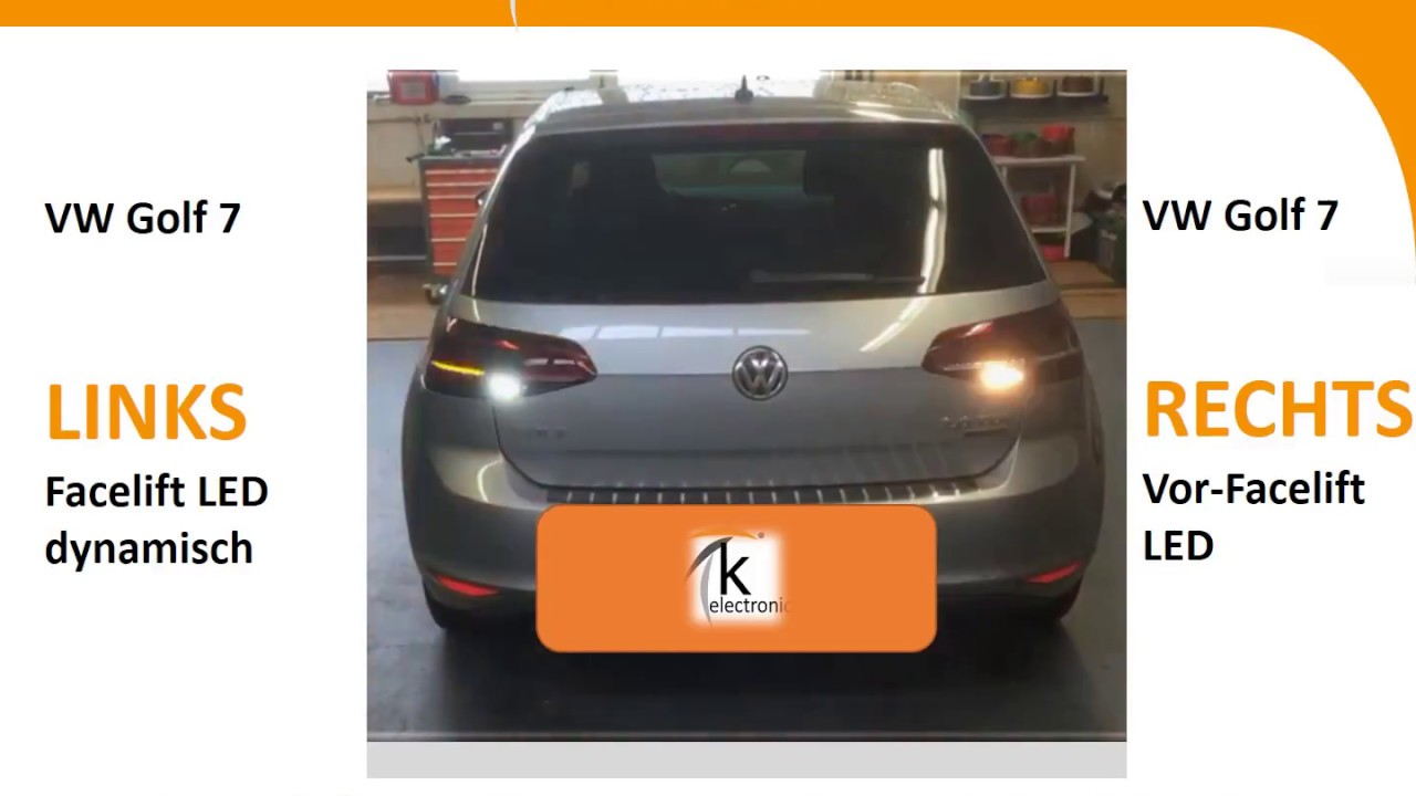 vw golf 7 facelift led heckleuchten dynamischer blinker. Black Bedroom Furniture Sets. Home Design Ideas