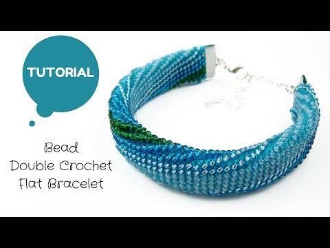 Bead double (UK) crochet flat bracelet | Bead crochet tutorial | Bead tutorial | Handmade bracelet