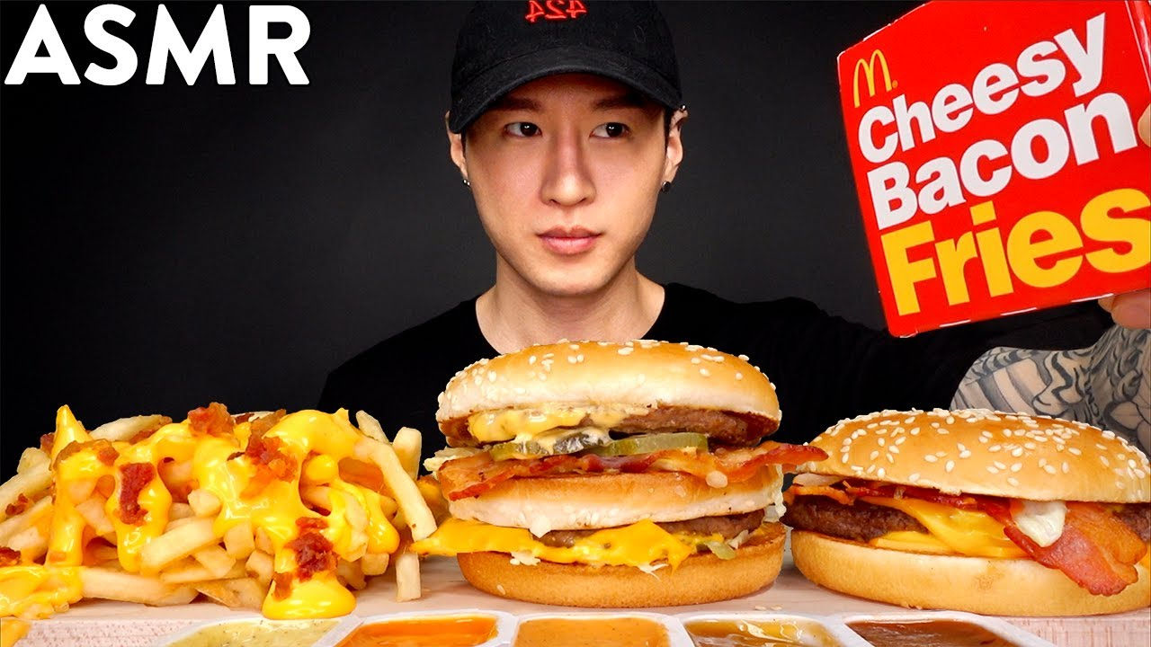 Asmr Bacon Big Mac Cheesy Bacon Fries Qp Mukbang No Talking Eating Sounds Zach Choi Asmr