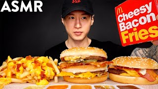 ASMR BACON BIG MAC &amp CHEESY BACON FRIES + QP MUKBANG (No Talking) EATING SOUNDS  Zach Choi ASMR