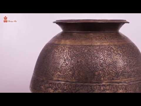 ANTIQUE BRASS HAND CARVED ISLAMIC BIG DRINKING WATER POT