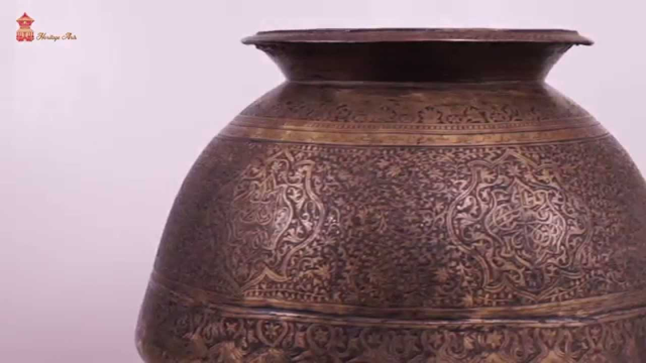 Antique brass hand carved islamic big drinking water pot youtube antique brass hand carved islamic big drinking water pot reviewsmspy