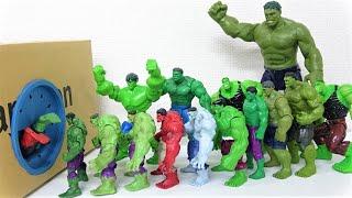 ハルク、レッドハルク、グレーハルクが箱にすぽすぽ入るよ! 大きなワニとマーベル・スーパーヒーローのおもちゃ