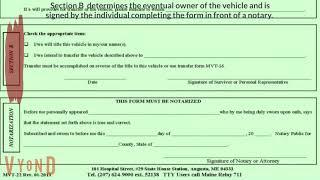 Maine BMV: MVT-22  Affidavit form