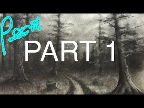 How To Draw A Forest Using Charcoal - Part 1 - Trees And Cloudy Sky