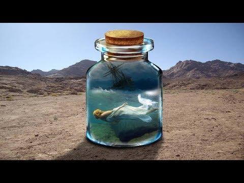 Adobe Photoshop Tutorial Population mermard in class bottle in the sea thumbnail