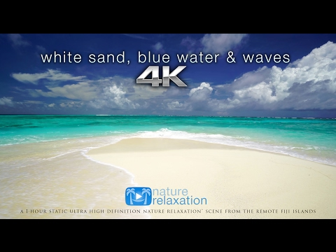 White Sand, Blue Water & Waves [4K UHD] 2 Hours - Fiji Islan