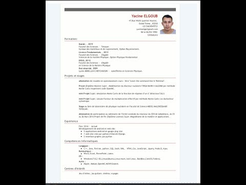 Simple Curriculum Vitae Html Template Cv Youtube