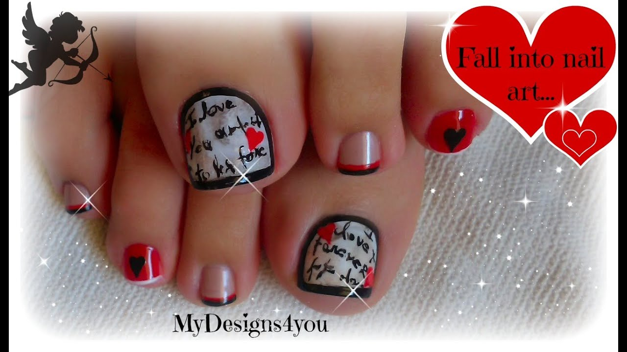 Valentine's Day Toe Nail Art  Love Letter  - YouTube